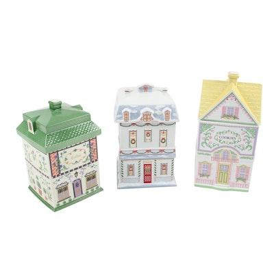 "Lenox ""Canterbury Crossing"" and ""Village Cookie Cottage"" Porcelain Cookie Jars"
