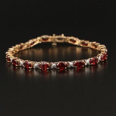 "10K Garnet and Diamond ""X"" Link Bracelet"