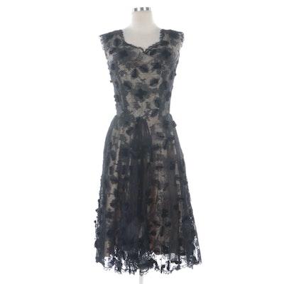 Harvey Berin Black Floral Lace and Velvet Rosette Embellished Dress, 1950s