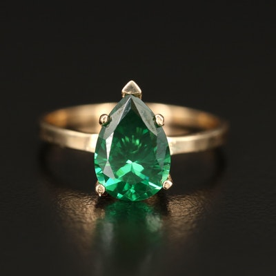 14K Green Cubic Zirconia Teardrop Ring