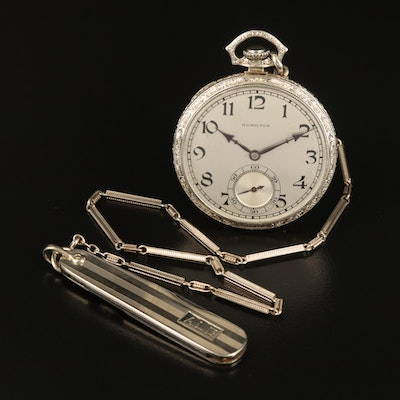 1926 Hamilton 14K White Gold Pocket Watch with Fob and Knife