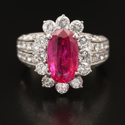 18K 2.96 CT Ruby and 2.46 CTW Diamond Ring