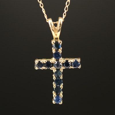 10K Sapphire Cross Necklace