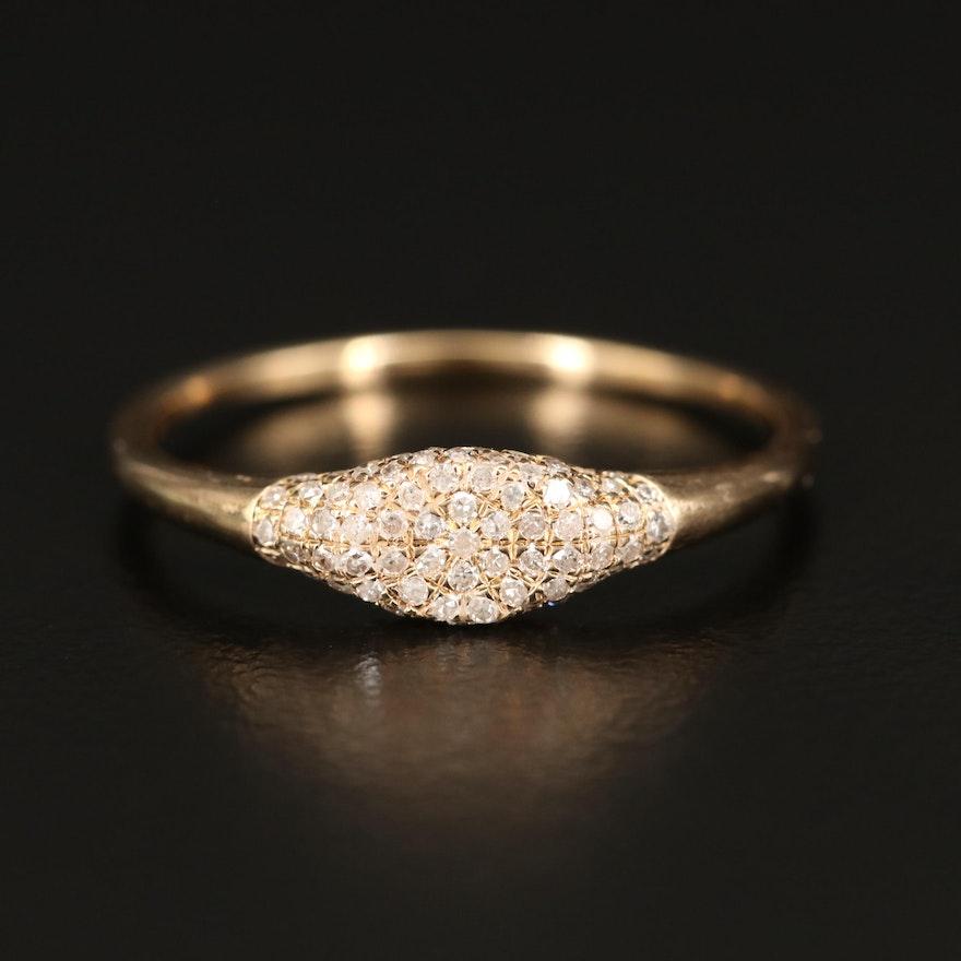 14K Pavé Diamond Ring