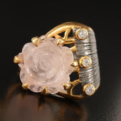 Sterling Silver Rose Quartz and Cubic Zirconia Floral Ring
