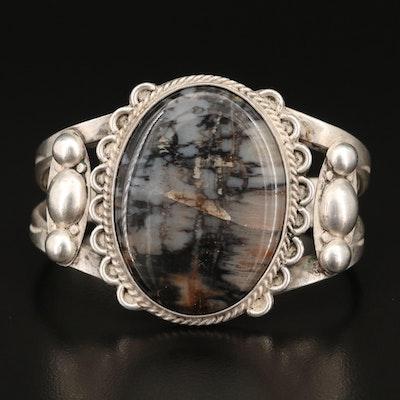 Southwestern Style Sterling Silver Agate Cuff