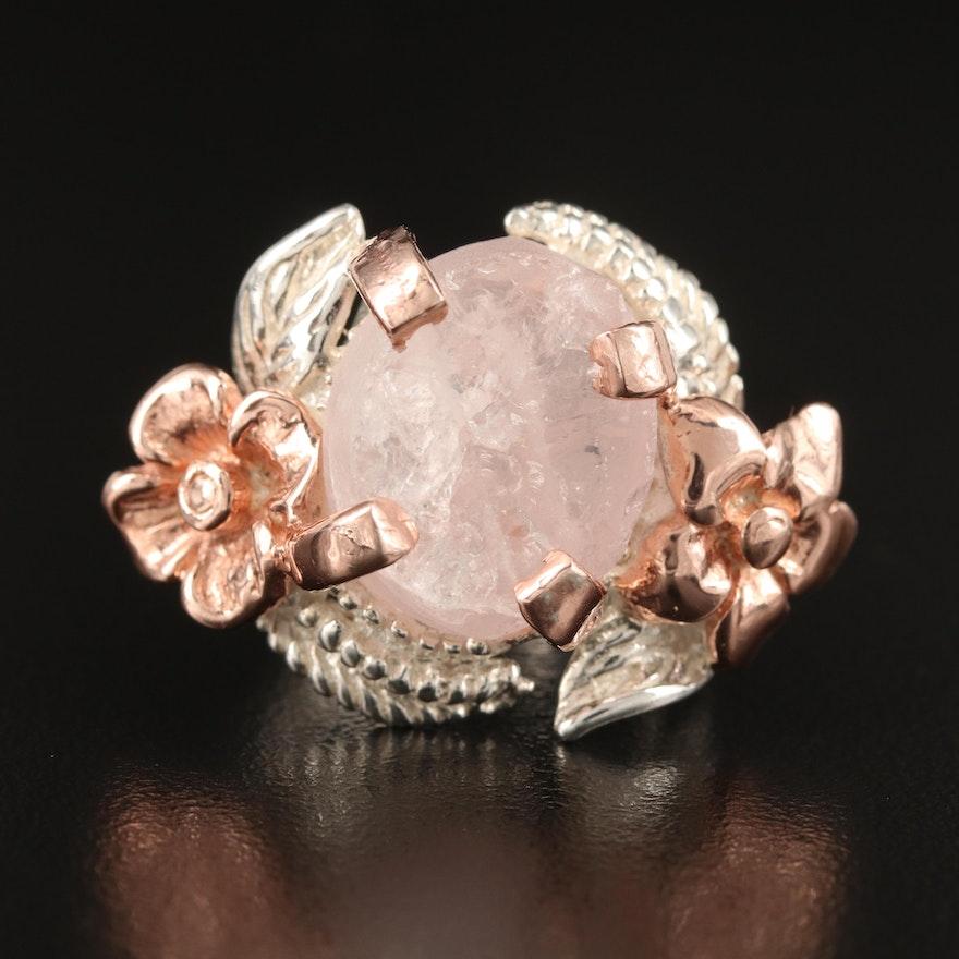 Sterling Silver Rose Quartz Floral Ring