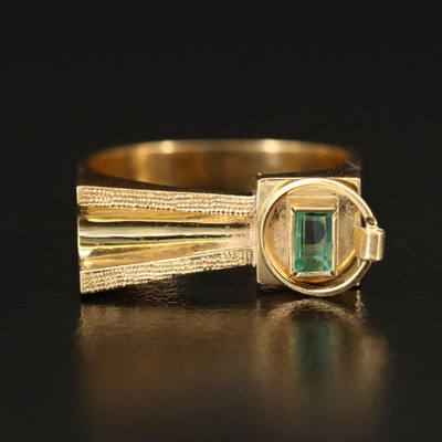 18K Emerald Asymmetrical Ring with Textured Detail