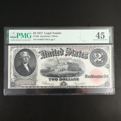 PMG Graded Choice EF45 Series of 1917 $2 Legal Tender Note
