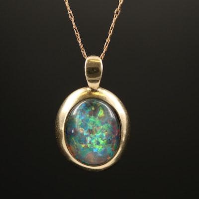 9K Quartz and Opal Triplet Pendant on 10K Singapore Chain Necklace