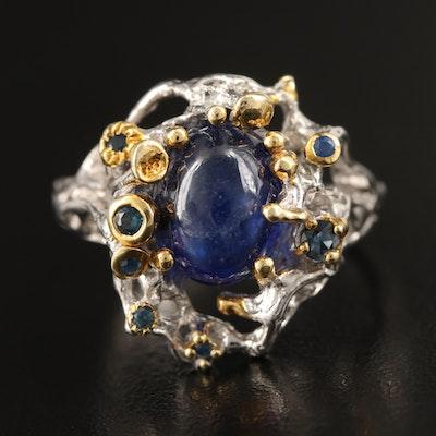 Sterling Corundum Biomorphic Ring