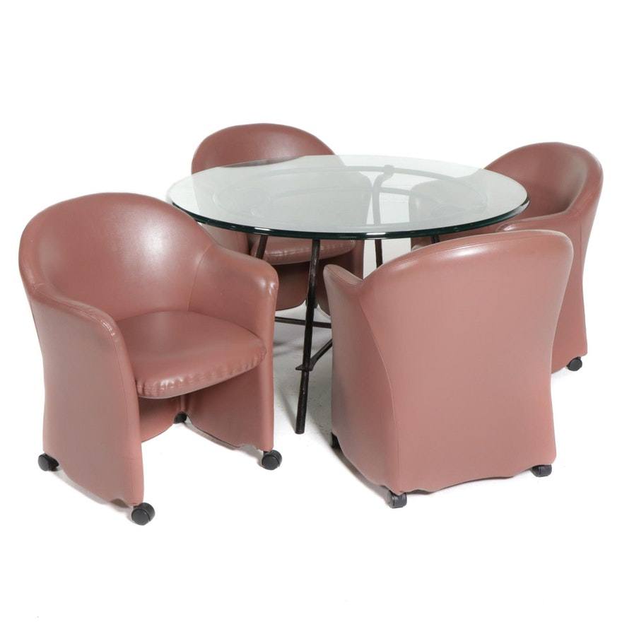 Contemporary Round Glass Top Dining Table with Four Barrel Chairs