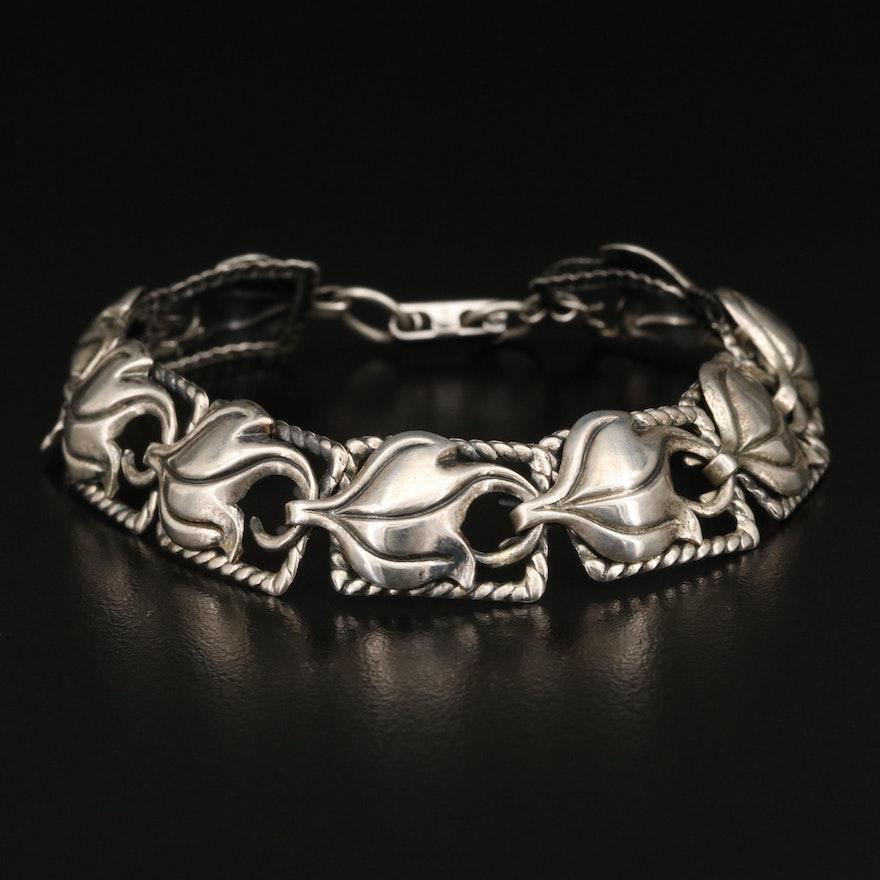 Vintage Beau Sterling Silver Foliate Panel Bracelet
