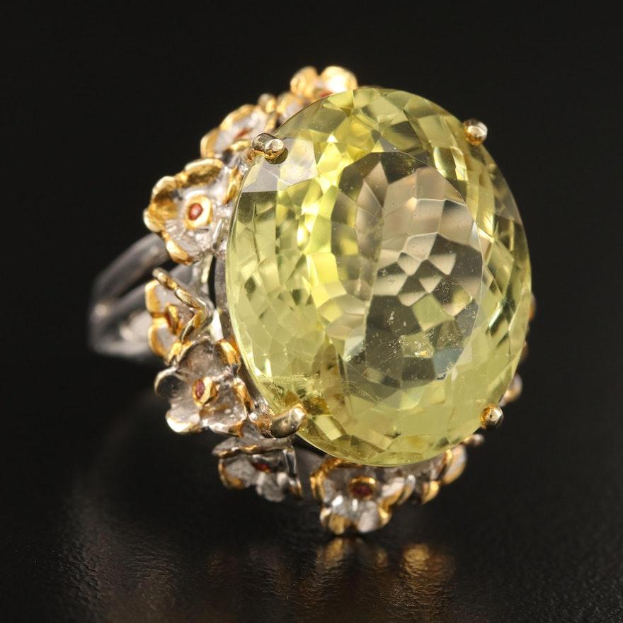 Sterling Lemon Quartz and Sapphire Floral Frame Ring