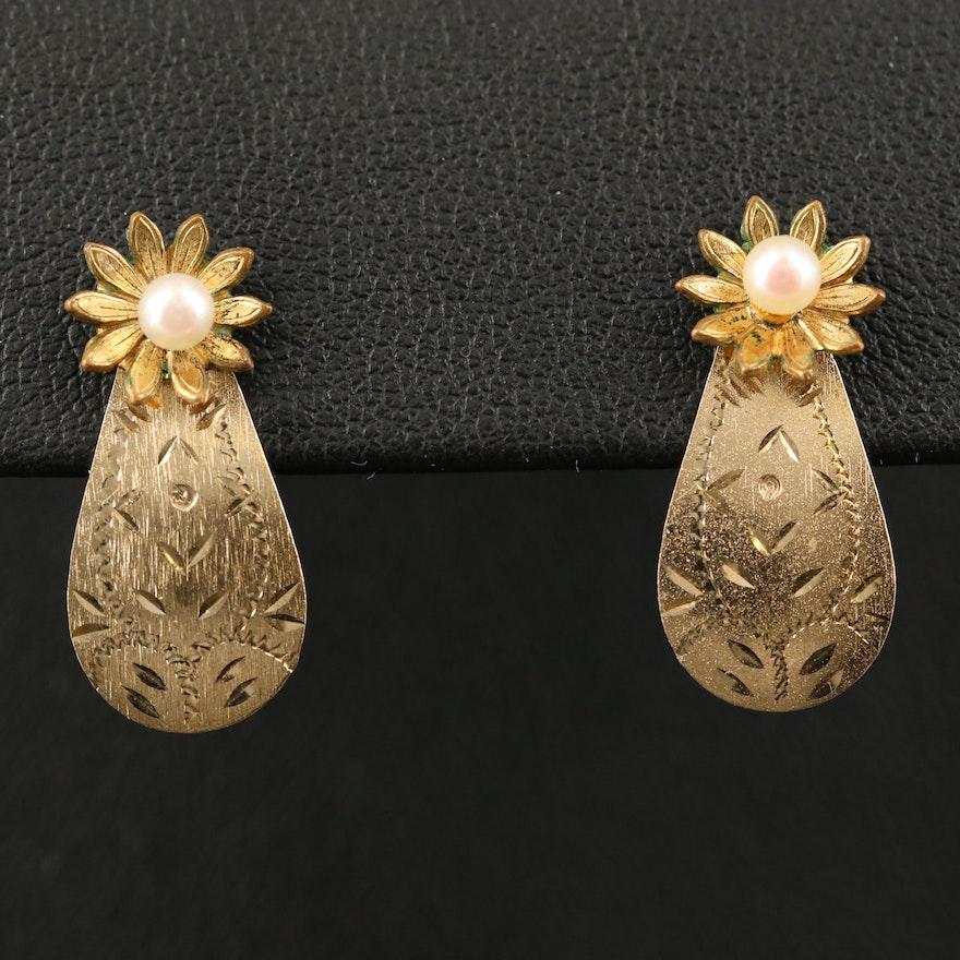Gold Filled Pearl Flower Stud Earrings with 14K Diamond Cut Earring Enhancers