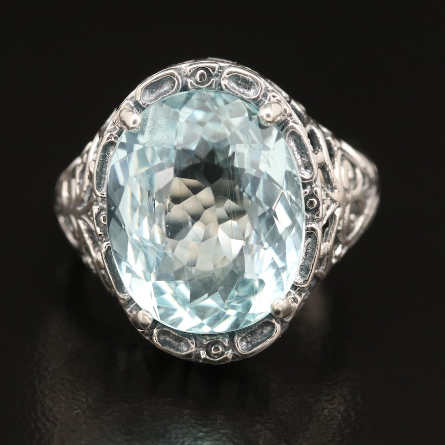 Antique Style Sterling Silver Aquamarine Openwork Ring