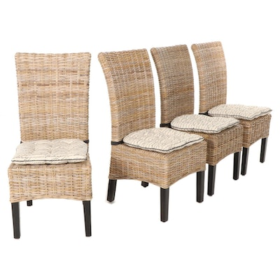 Four Woven Cane Dining Chairs