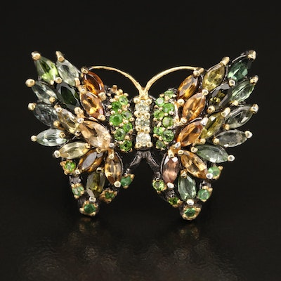 Sterling Silver Diopside, Tourmaline and Citrine Butterfly Ring