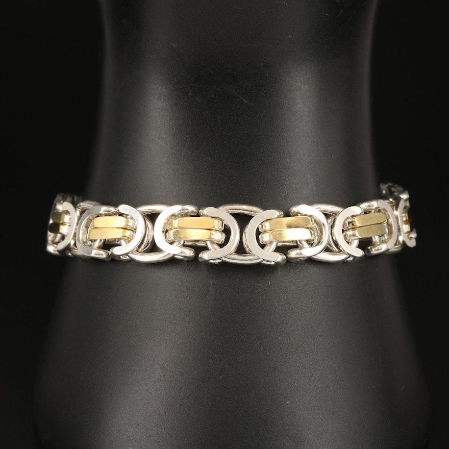 Italian Sterling Reversible Fancy Link Bracelet