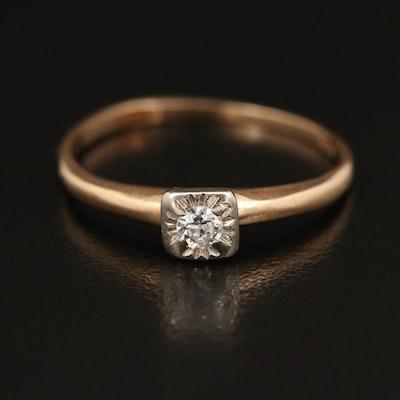 Vintage 14K 0.09 CT Diamond Solitaire Ring
