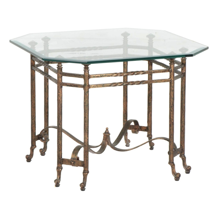 Contemporary Hexagonal Glass Top and Metal Center Table