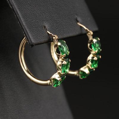 14K Glass Hoop Earrings