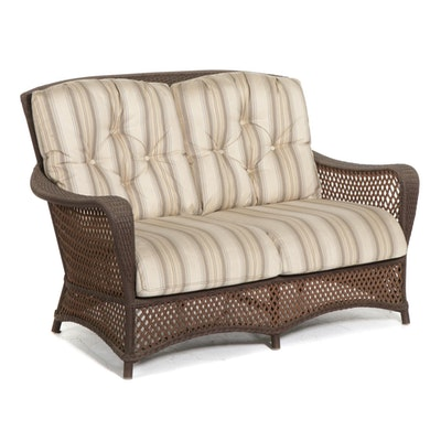Contemporary Wicker Woven Synthetic Patio Love Seat