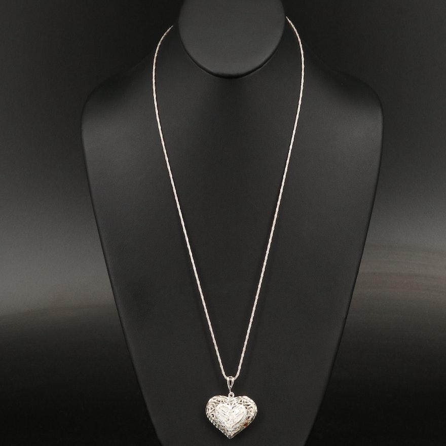 Sterling Silver Diamond Cut Puffed Heart Pendant Necklace