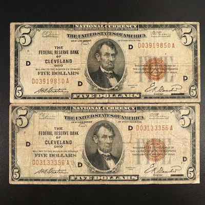 Two Series of 1929 $5 Federal Reserve Bank Notes