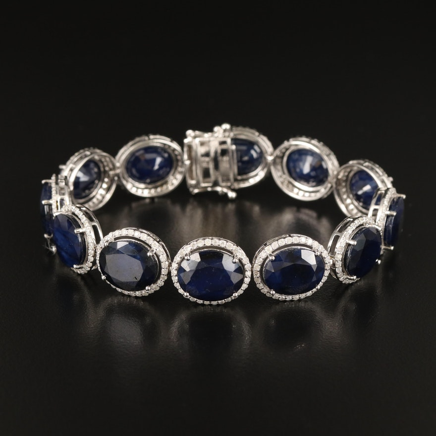 14K Sapphire and 2.93 CTW Diamond Bracelet