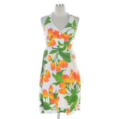 Malia Honolulu Textured Floral Cotton Halter Dress
