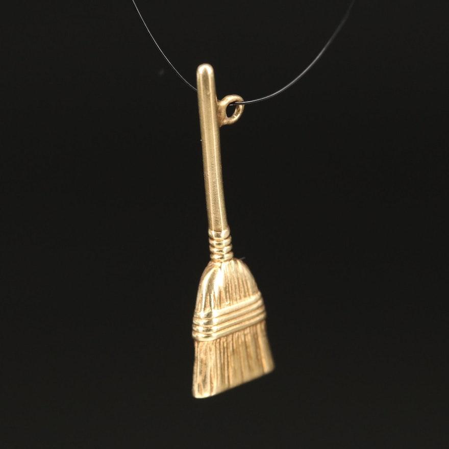 14K Broom Pendant
