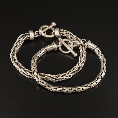 Sterling Byzantine Link and Wheat Link Bracelets
