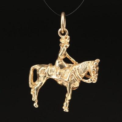 14K Pendant Depicting Lady Riding Side Saddle
