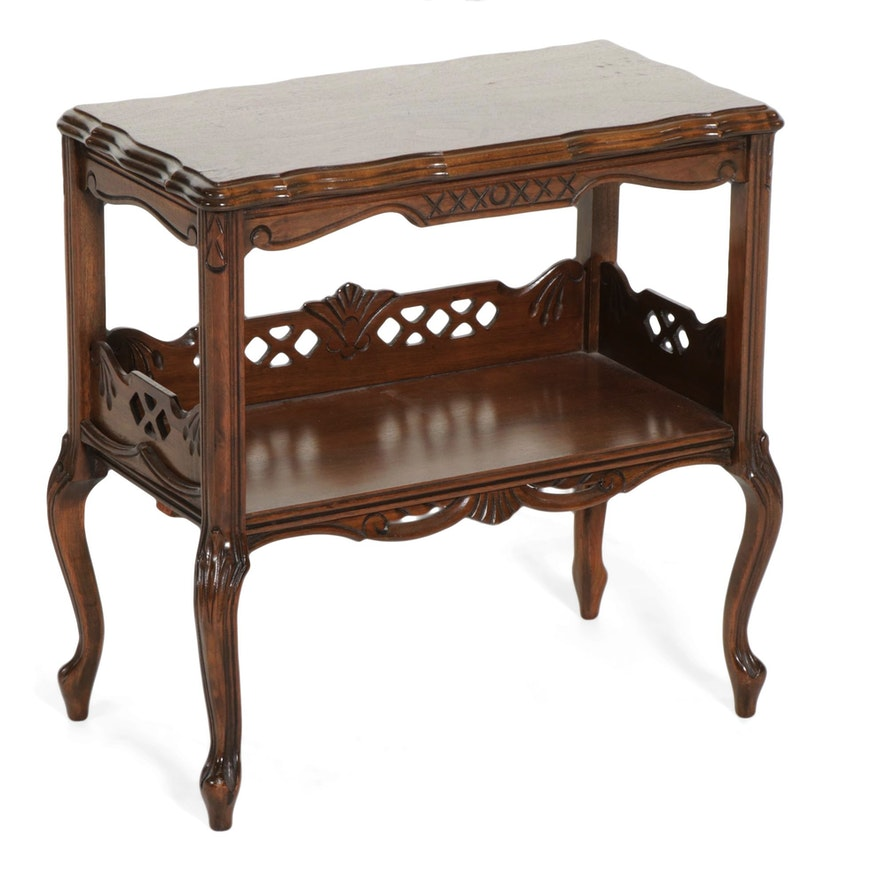 Louis XV Style Walnut Tiered Side Table, Late 20th Century