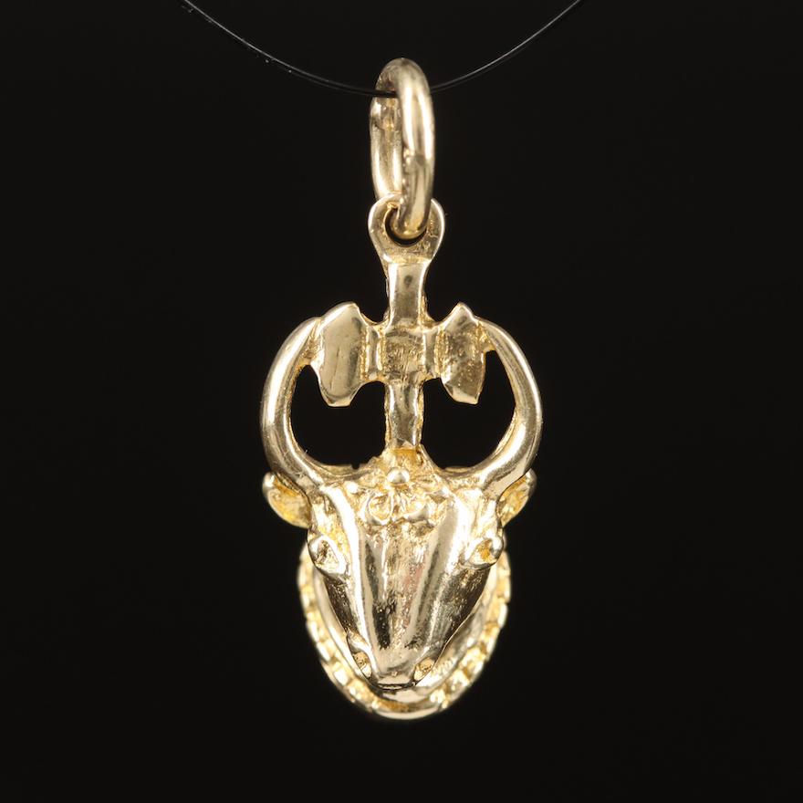 14K Mounted Animal Head Pendant