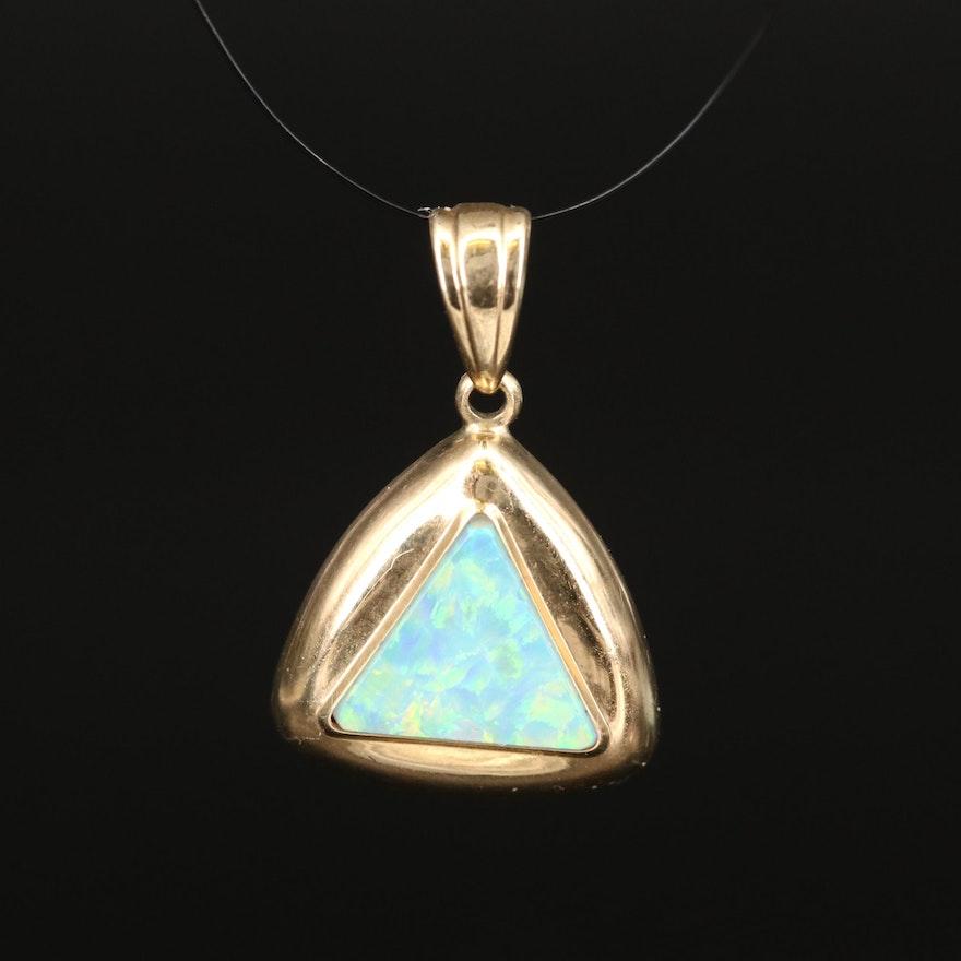 10K Opal Triangle Pendant