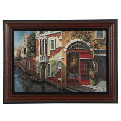 Cityscape Oil Painting of Venice Canal, 21st Century