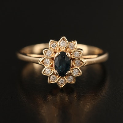 14K Sapphire and Diamond Floral Halo Ring