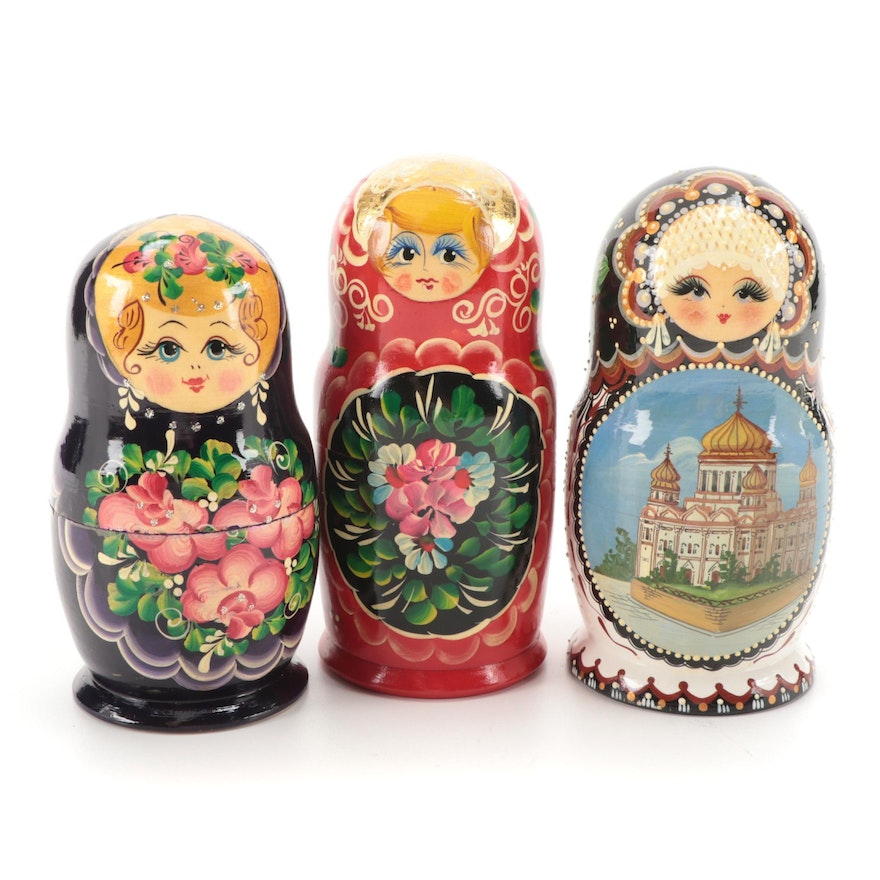 Three Sets of Handcrafted Russian Matryoshka Dolls, Mid to Late 20th Century