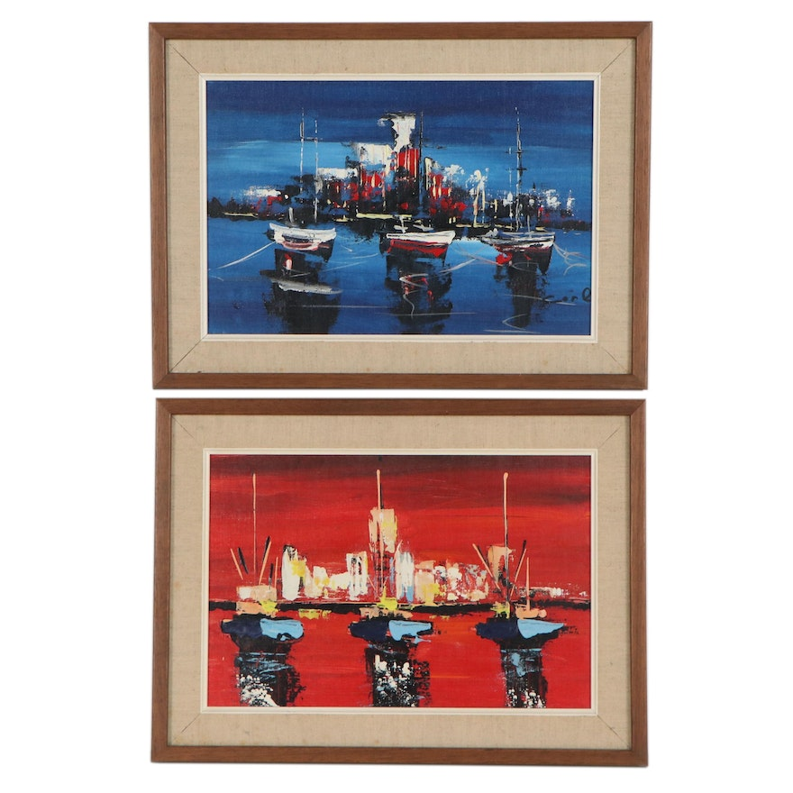 Modernist Style Acrylic Paintings of Boats on the Water, Late 20th Century