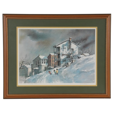 """Robert Fabe Offset Lithograph """"December Day,"""" Late 20th Century"""
