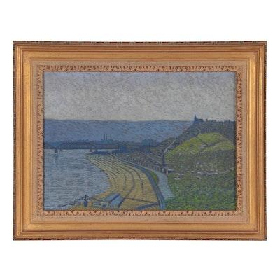 "V. Holt Tatum Oil Painting ""City Landscape"""