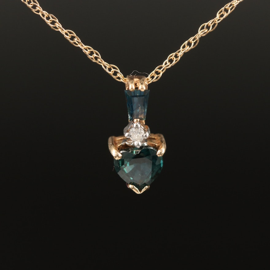 14K Sapphire and Diamond Heart Necklace