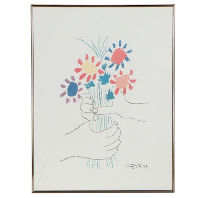 """Offset Lithograph after Pablo Picasso """"Bouquet of Peace,"""" Late 20th Century"""