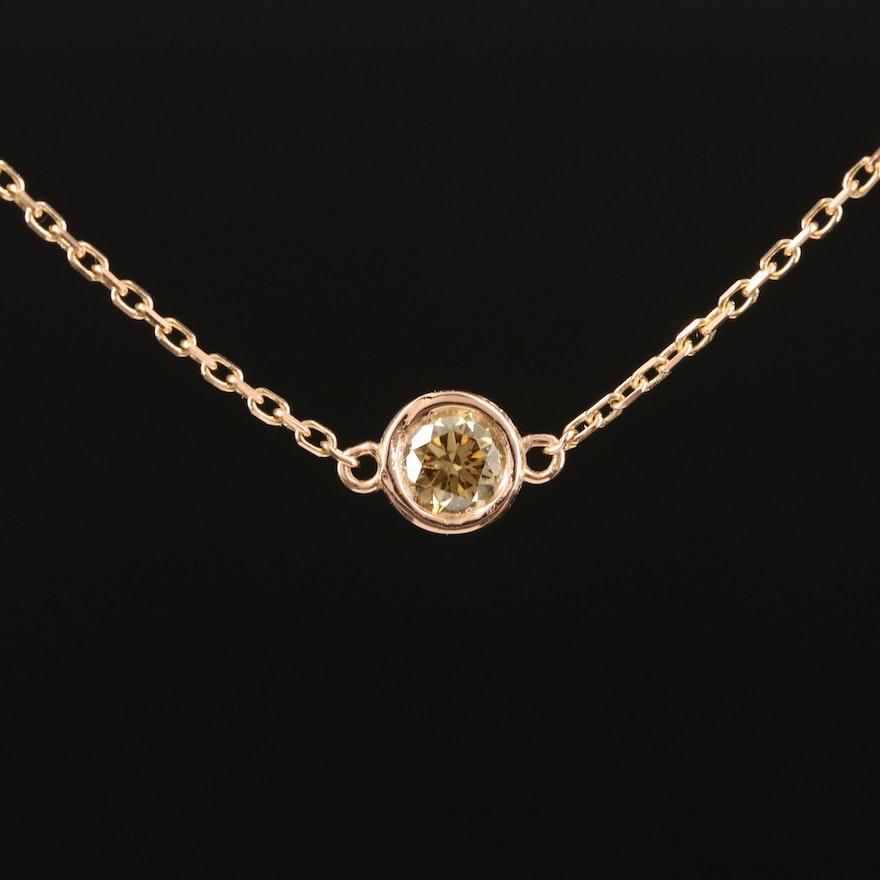 18K 0.23 CT Bezel Set Diamond Solitaire Necklace
