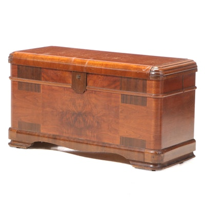 Caswell-Runyan Co. Art Deco Walnut and Cedar-Lined Hope Chest, pat. 1937