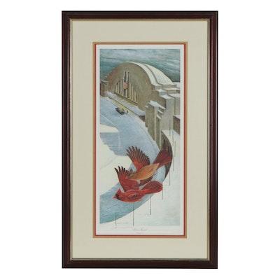 "John A. Ruthven Offset Lithograph ""Union Terminal Christmas 1939"""
