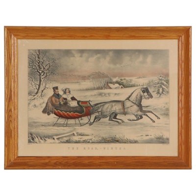 """Otto Knirsch Hand-Colored Lithograph """"The Road - Winter,"""" 1853"""