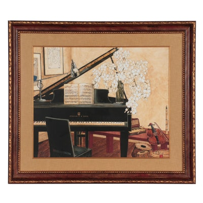 Offset Lithograph after Monica Ratliff of Interior Scene, Late 20th Century